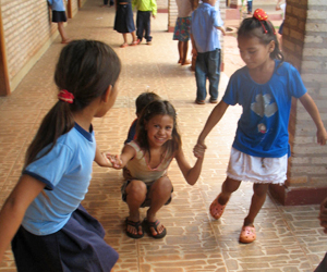 Students playing outside the Suzanna Wesley School